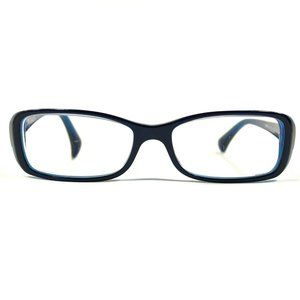 Chanel Black Clear Blue Rectangular Oval Frames